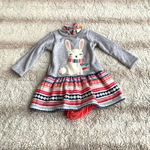 Gymboree 18-24 Mo Snow Bunny Long Sleeve Dress